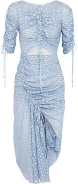 Alice McCall I Feel It Coming Asymmetric Gathered Fil Coupé Georgette Midi Dress - Blue
