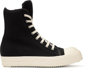 Rick Owens Black Wool Toe Cap High-Top Sneakers
