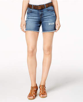 Style&Co. Style & Co Petite Belted Denim Shorts, Created for Macy's