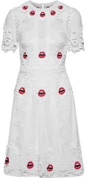 Temperley London Leaf Appliquéd Tulle Mini Dress