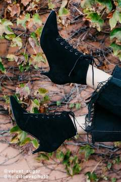 Urban Outfitters Aria Lace-Up Kitten Heel Boot