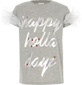 River Island Girls grey ' holla dayz' Christmas T-shirt