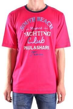 Paul & Shark Men's Fuchsia Cotton T-shirt.