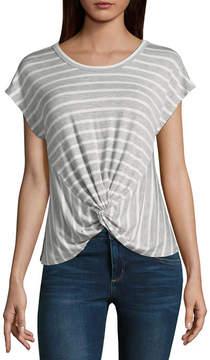 BELLE + SKY Short Sleeve Round Neck Stripe T-Shirt-Womens
