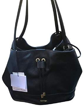 Calvin Klein Pebbled Black Leather Drawstring Shoulder Bag (H7DBA7D)