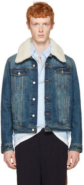 Ami Alexandre Mattiussi Blue Denim Shearling Collar Jacket