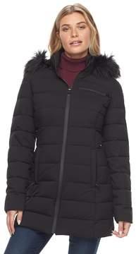 Apt. 9 Women's Stretch Hooded Faux-Fur Trim Puffer Jacket