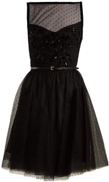 Elie Saab Slash-neck embellished polka-dot tulle dress