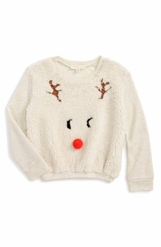 Truly Me Toddler Girl's Reindeer Mixed Media Pullover