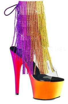 Pleaser USA Women's Rainbow 1017RSF-7 Fringed Open-Toe Bootie