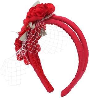 MonnaLisa Cotton Headband W/ Flowers & Veil