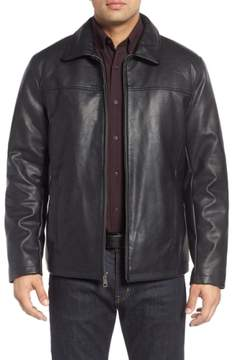 Cole Haan Men's Collared Open Bottom Faux Leather Jacket