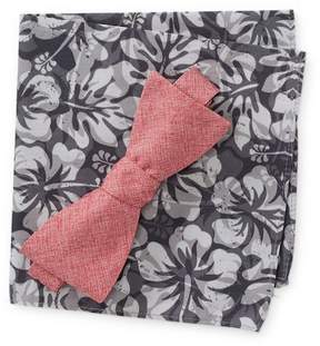 Original Penguin Hobart Solid Bow Tie & Tropical Print Pocket Square Set