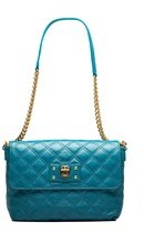 Marc Jacobs Women's Leather 'the Large Single' Shoulder Handbag Peacock. - BLUE - STYLE