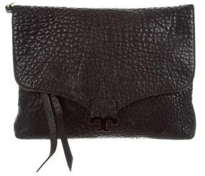 Tory Burch Grained Leather Clutch - BLACK - STYLE