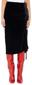 Cédric Charlier Women's Velvet Ruffle Pencil Skirt