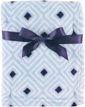 Luvable Friends 30'' x 36'' Blue & Navy Diamond Print Fleece Stroller Blanket