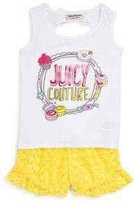 Juicy Couture Little Girl's Two-Piece Graphic Top and Lace Shorts Set