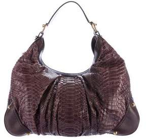 Gucci Python Large Jockey Hobo - BROWN - STYLE