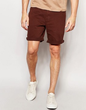 Pull&Bear Denim Shorts In Maroon