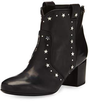 Laurence Dacade Belen Star-Studded Leather Bootie, Black