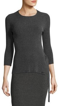 Armani Jeans Tie-Side Ribbed 3/4-Sleeve Sweater, Gray