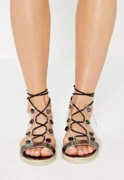 Missguided Black Transparent Straps Flat Sandals