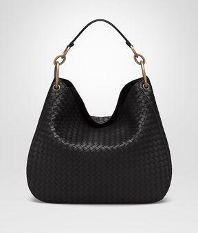 Bottega Veneta Medium Loop Bag In Nero Intrecciato Nappa Leather