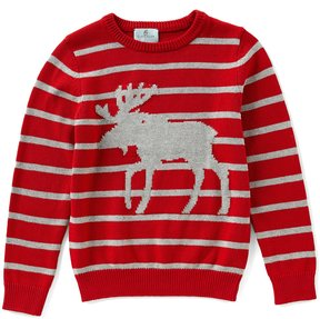 Class Club Big Boys 8-20 Striped Moose Pullover Sweater