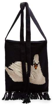 J.W.Anderson Swan Intarsia Handmade Knit Bag - Womens - Navy