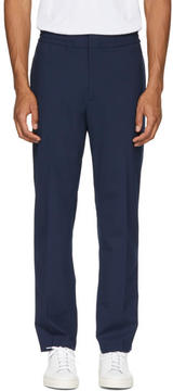 MSGM Navy Wool Elastic Waist Trousers