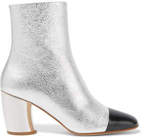 Proenza Schouler Metallic Textured-leather Ankle Boots - Silver