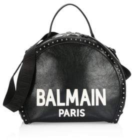 Balmain Leather Logo Drum Shoulder Bag