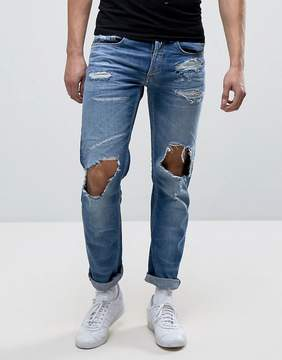 Replay Grover Straight Fit Jeans Light Wash Abrasions
