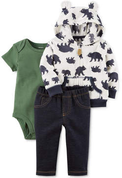 Carter's 3-Pc. Printed Hoodie, Bodysuit & Jeans Set, Baby Boys (0-24 months)