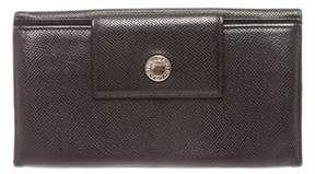 Bvlgari Black Leather Snap Closure Long Wallet.