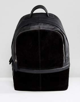Asos Backpack In Black Suede And Leather