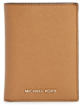 MICHAEL Michael Kors 'Jet Set' Leather Passport Wallet - Brown - BLACK - STYLE