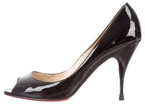 Christian Louboutin Peep-Toe Patent Leather Pumps