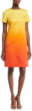 Escada Crewneck Short-Sleeve A-Line Degrade Cotton Dress