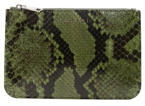 Orciani Large Diamond Genuine Python Pouch - Green