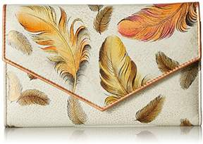 Anuschka Women's Genuine Leather Checkbook Wallet | Hand painted Original Artwork | Floating Feathers Ivory