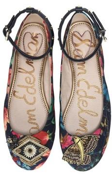 Sam Edelman Women's Ferrera Embellished Ankle Strap Flat