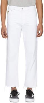 April 77 White Flip Jeans