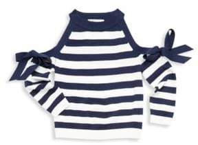 Milly Minis Toddler's, Little Girl's& Girl's Cold Shoulder Striped Pullover
