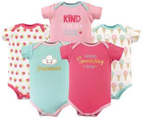 Luvable Friends Pink 'Dreamer' Basic Bodysuits - Set of Five