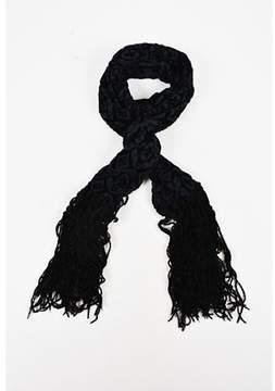 Dolce & Gabbana Pre-owned Black Velvet Patterned Long Fringed Scarf.
