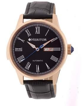 Heritor Prescott Black Dial Black Leather Strap Rose Gold-tone Case Automatic Men's Watch