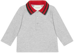 Gucci Baby cotton polo with Web collar