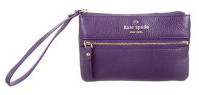 Kate Spade Leather Logo Pouch - PURPLE - STYLE